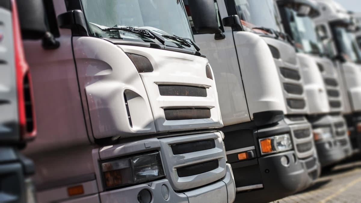 A fleet of white trucks