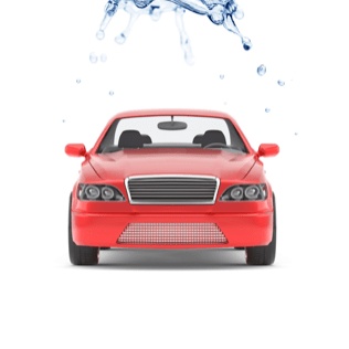 A red car getting washed