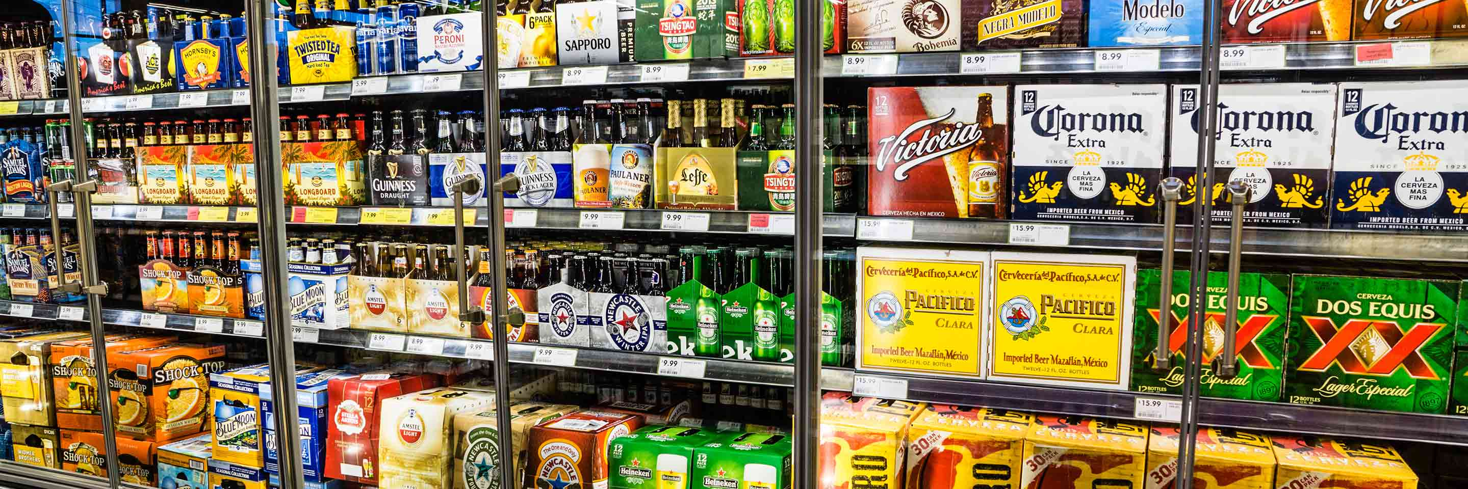 Stacks of beer and wine on shelves