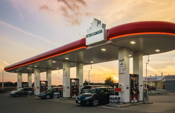 A Petro-Canada station at dusk.