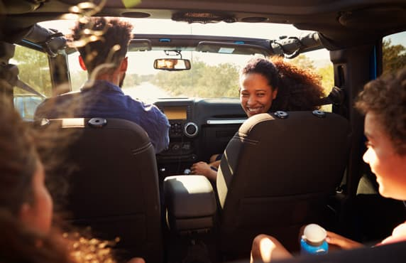 In the car with the whole family - a view from the back seat.