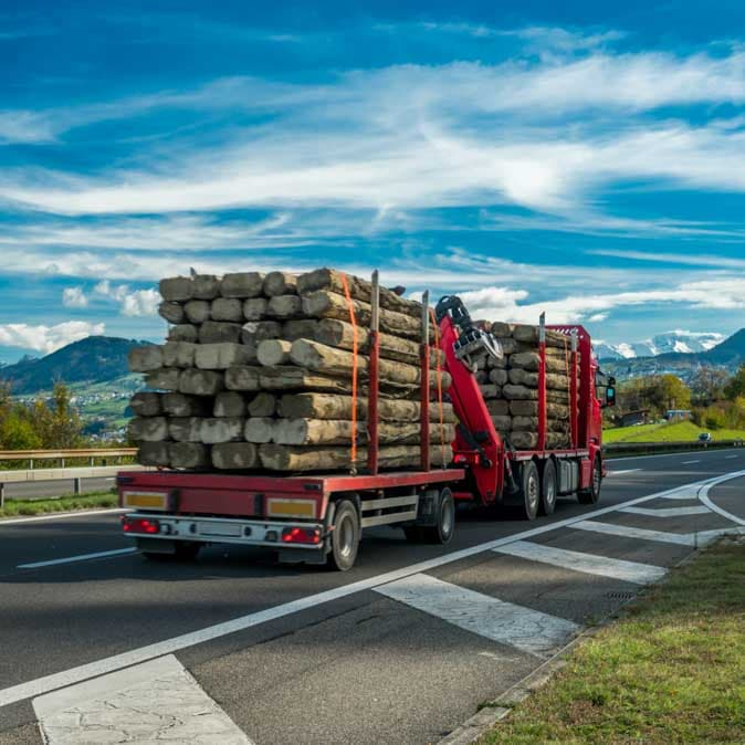 A truck transporting a load of logs.